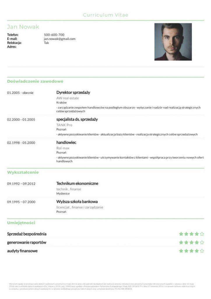 Darmowe CV - z zielonymi elementami
