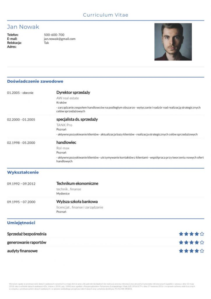 Darmowe CV - kolor niebieski