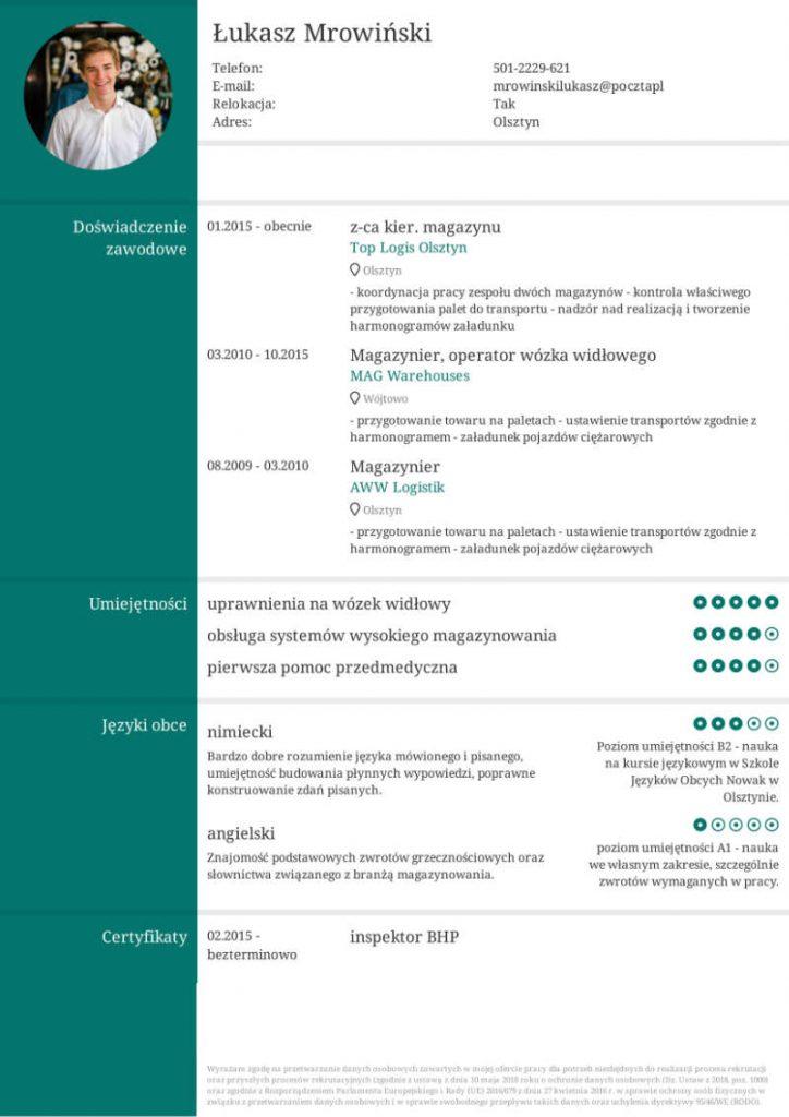 zielony szablon cv, cv dla magazyniera