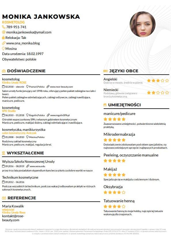 szablon cv nowoczesne cv dla kosmetyczki żółte 2