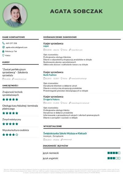 CV sprzedawca wzór