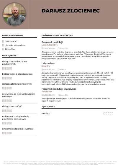 przykładowe dobre CV