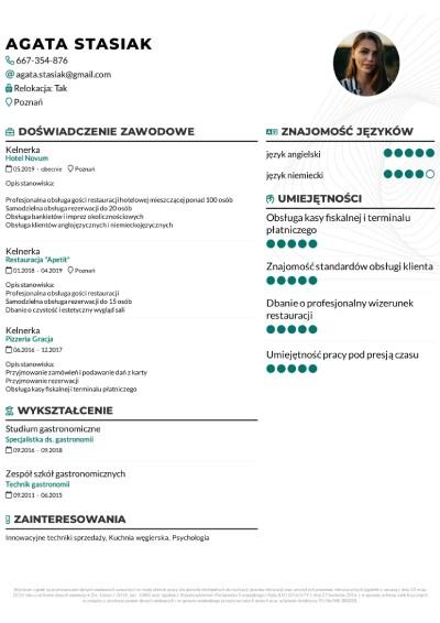 Wzór CV dla kelnerki