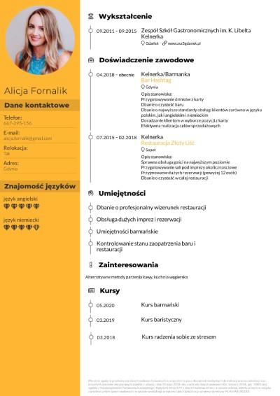 CV kelnerka