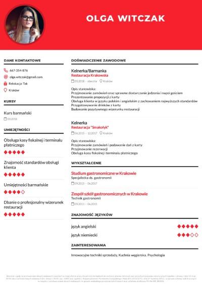 Przykładowe CV kelnerki