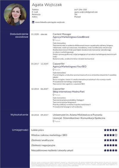 CV dla copywritera, szablony CV