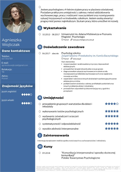 cv psychologa